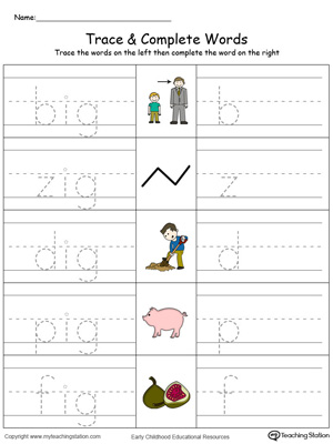 Ig Word Family Trace And Write Color on kindergarten word family worksheets pics