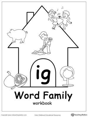 ig word family workbook for kindergarten. Black Bedroom Furniture Sets. Home Design Ideas