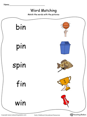 IN Word Family Picture Match in Color. Identifying words ending in  –IN by matching the words with each picture.