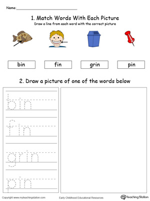 IN Word Family Phonics and Writing Practice in Color
