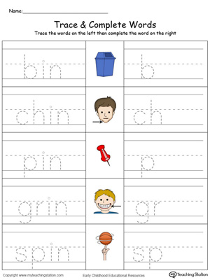 Trace then write the words themselves in this IN Word Family Trace and Write in Color printable worksheet.