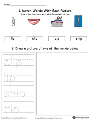 IP Word Family Phonics and Writing Practice in Color
