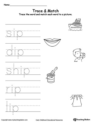 Write short words and identify sounds in this IP Word Family printable worksheet.