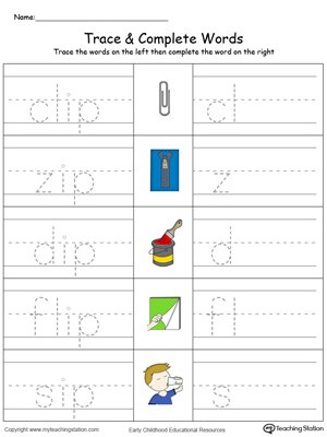 IP Word Family Trace and Write in Color | MyTeachingStation.com