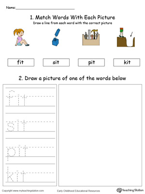 IT Word Family Phonics and Writing Practice in Color