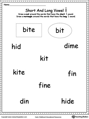 Vowels: Short or Long I Sound Words | MyTeachingStation.com