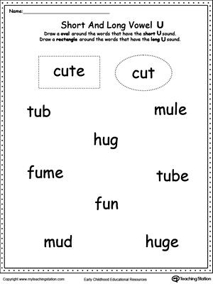 Vowels Short Or Long U Sound Words Myteachingstation Com