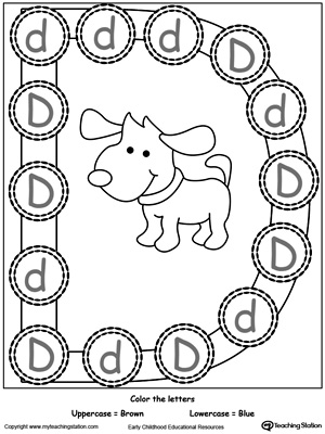 Printables Letter D Preschool Worksheets words starting with letter d myteachingstation com recognize uppercase and lowercase d