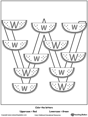 Practice identifying the uppercase and lowercase letter W in this preschool reading printable worksheet.