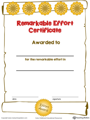 Printable certificate award for remarkable effort for kids in color.