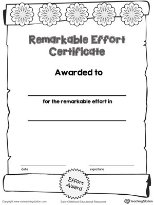 certificate awards remarkable effort certificate