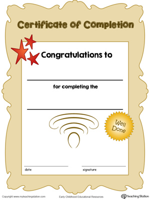 Printable certificate of completion award in color for kids.