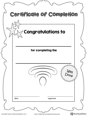 Printable certificate of completion award for kids.