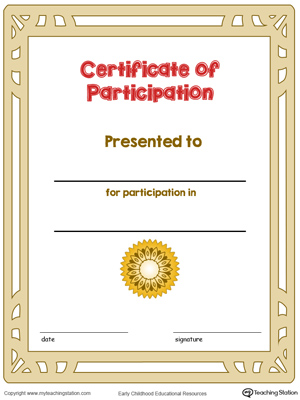 Printable certificate of participation award in color for kids.