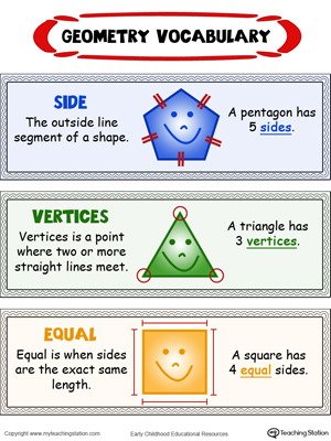 Printables Geometry Vocabulary Worksheet kids geometry vocabulary sides vertices and equal in color