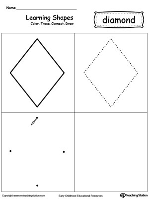 Worksheets Drawing Rhombus Worksheet learning shapes color trace connect and draw a square diamond