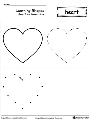 Printables Heart Worksheets learning shapes color trace connect and draw a heart heart