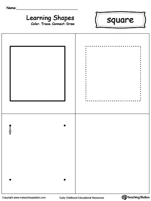math worksheet : learning shapes color trace connect and draw a square  : Square Worksheets