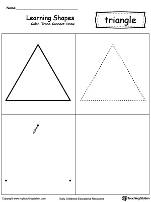 math worksheet : learning shapes color trace connect and draw a triangle  : Triangle Worksheets