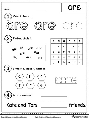 math worksheet : learning sight word the  myteachingstation  : Tracing Sight Words Worksheets Kindergarten