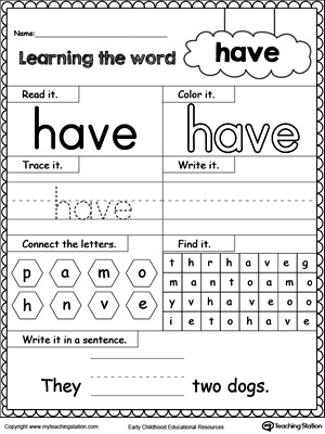 Number Names Worksheets printable sight words for kindergarten : Learning Kindergarten Sight Words - Coffemix