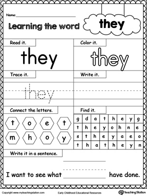math worksheet : learning sight word he  myteachingstation  : Sight Words For Kindergarten Printable Worksheets