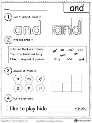 math worksheet : build sentences using sight words like am see and you  : Sight Word Worksheets For Kindergarten