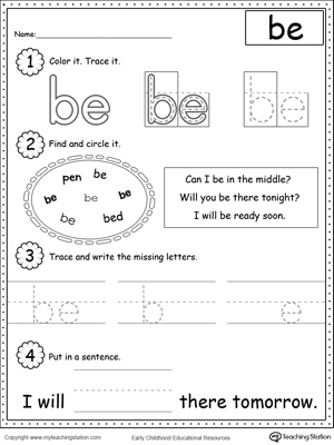 math worksheet : learning sight word be  myteachingstation  : Sight Words Tracing Worksheets For Kindergarten