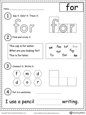 sight FOR,phonics,reading,kindergarten Words,Sight ,Sight  Word  worksheet word sight the