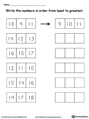 Least to Greatest Number Sorting 10 Through 19 | MyTeachingStation.com