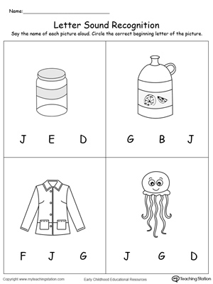 Practice recognizing the alphabet letter J sound in this picture match printable worksheet.
