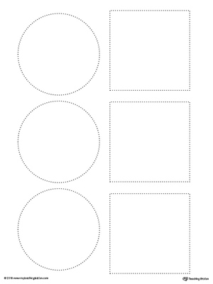 Trace squares and circles in this fine motor skills preschool worksheet.