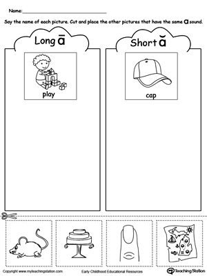 Printables Short And Long Vowel Worksheets short and long vowel a picture sorting myteachingstation com downloadfree worksheet