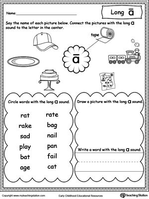 Worksheets Long A Worksheets For Kindergarten long e sound worksheet myteachingstation com a worksheet