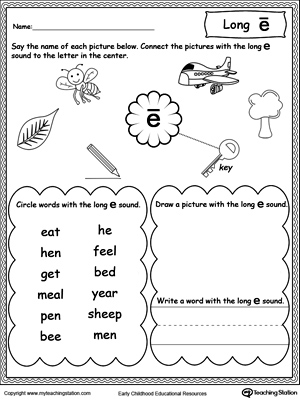 Long E Sound Worksheet | MyTeachingStation.com