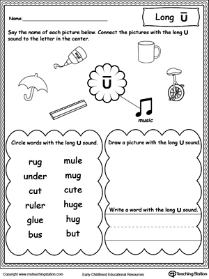 Long U Sound Worksheet | MyTeachingStation.com