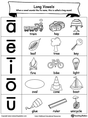 long vowels sound picture reference  myteachingstationcom long vowels sound picture reference  page worksheet