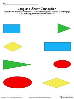 Teach the concept of length (long and short) to your preschooler with this Long and Short Shape Connection in Color printable worksheet.