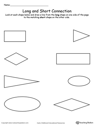 Teach the concept of length (long and short) to your preschooler with this Long and Short Shape Connection printable worksheet.