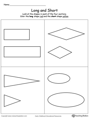 early childhood measurement worksheets  myteachingstationcom long and short shapes