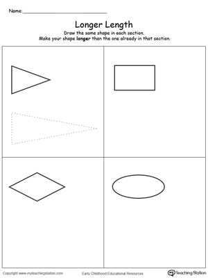 Teach the concept of length (long and short) using this Longer Length printable worksheet.