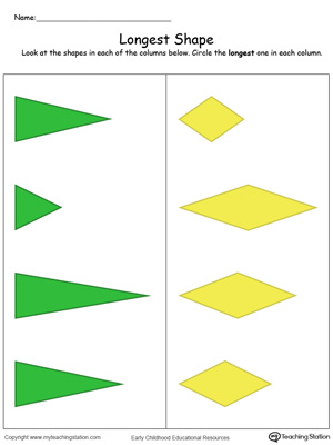 Teach the concept of length (long and short) using this Longest Shape in Color printable worksheet.