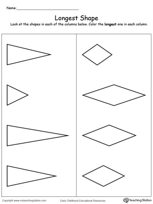 Teach the concept of length (long and short) using this Longest Shape printable worksheet.