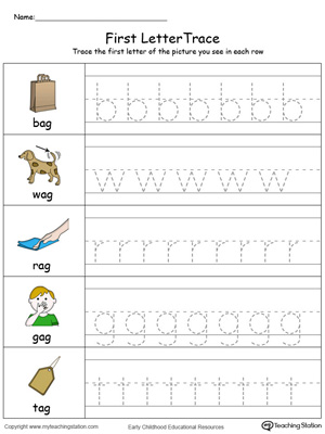 Lowercase Letter Tracing: AG Words in Color