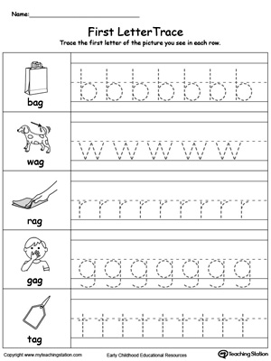Lowercase Letter Tracing: AG Words