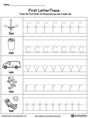 Lowercase Letter Tracing: AN Words | MyTeachingStation.com