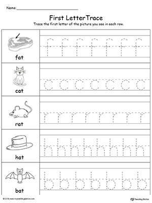 Lowercase Letter Tracing: AT Words