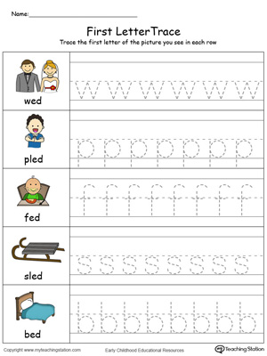 Lowercase Letter Tracing: ED Words in Color