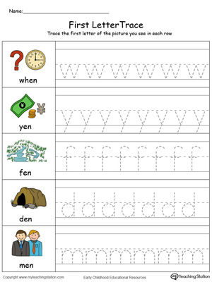 Lowercase Letter Tracing: EN Words in Color