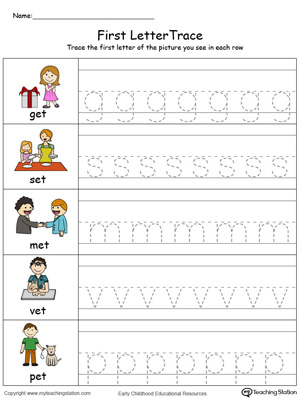 Lowercase Letter Tracing: ET Words in Color